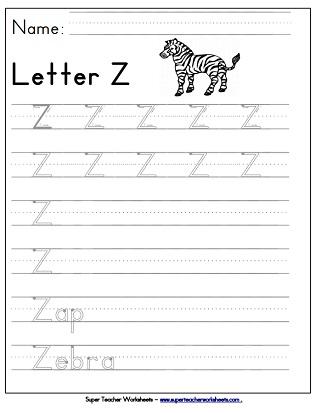 Letter Z Worksheets Recognize Trace Print