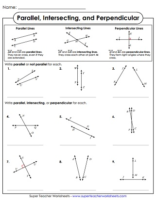 parallel intersecting perpendicular