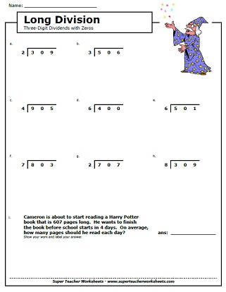Printables Division Worksheet 4th Grade division worksheets long worksheets