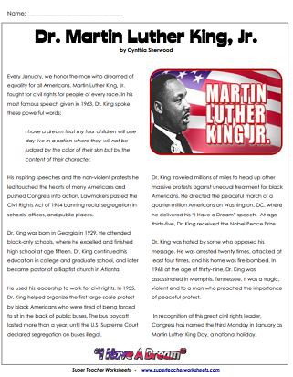 Martin Luther King Jr Reading Comprehension