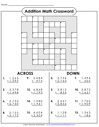 image relating to Math Crossword Puzzles Printable named Math Crossword Puzzles