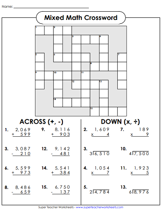 Mixed Math Crossword Puzzle