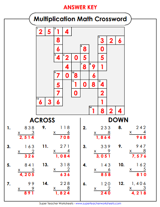 graphic about 3rd Grade Crossword Puzzles Printable named Math Crossword Puzzles
