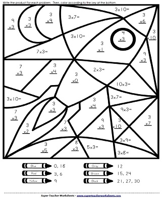 Math mystery picture worksheets for Mystery picture coloring pages