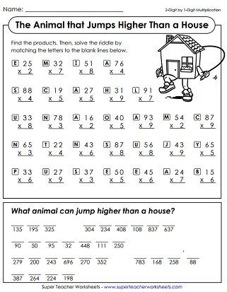 Multiplication Math Riddle Worksheet