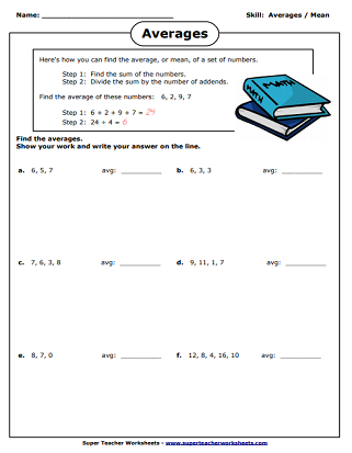 Averages - Mean Worksheets