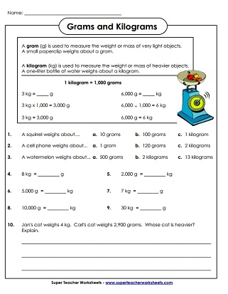 Weight (Grams and Kilograms) Worksheets