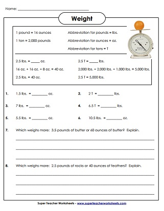 Printable Measurement Worksheets (Weight)