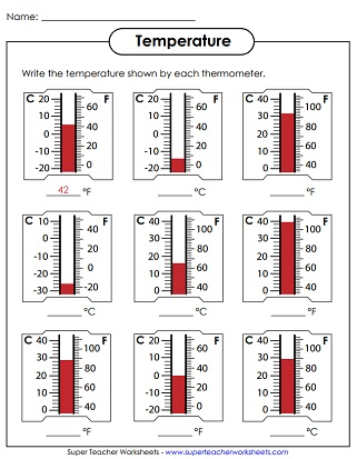 Temperature Worksheets (Reading Thermometers)