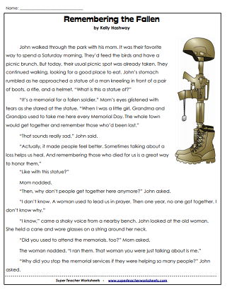 Memorial Day Worksheets Usa