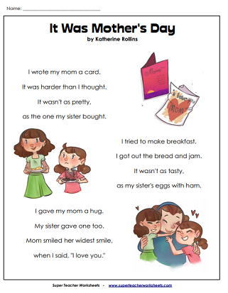 Mother's Day Poem Worksheets