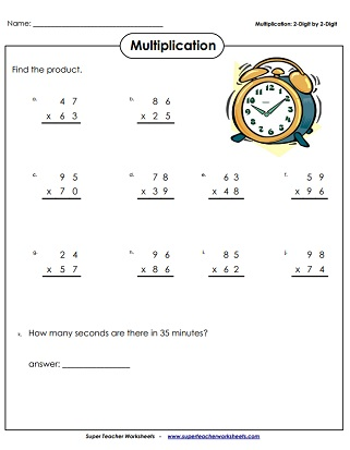 multiplication digits times digits printable multiplication worksheets