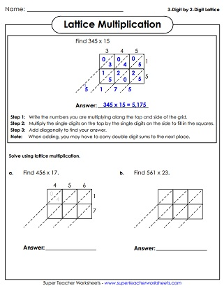 Multiplication Worksheets Digits Times Digits Lattice Multiplication Worksheet