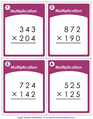 Worksheets - Multiplication by 3-Digit Numbers
