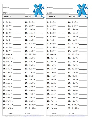 multiplication by  worksheets multiplication quiz worksheets