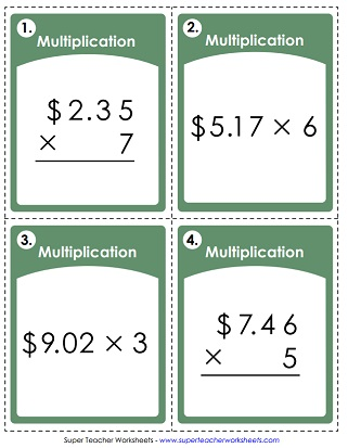 Money Multiplication Task Cards