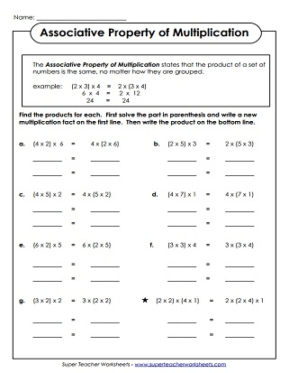 math worksheet : properties of multiplication worksheets : Commutative Property Of Multiplication Worksheets 4th Grade
