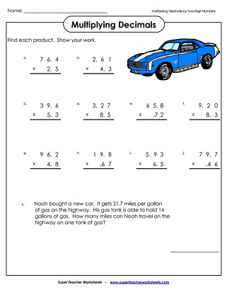 Decimals Worksheets