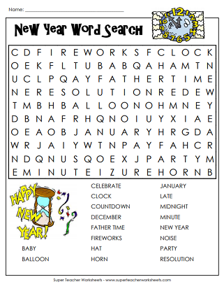 new year s word search for kids adults eve happy holidays worksheet middle school new best. Black Bedroom Furniture Sets. Home Design Ideas