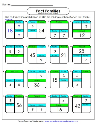 Number Family Worksheets (Multiplication and Division)