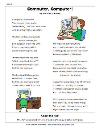 Parts of a Computer Worksheets