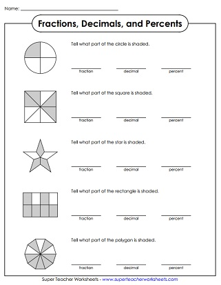 Percent Worksheets Worksheets Percents To Fractions Whith Ansers Printable Percent Worksheets