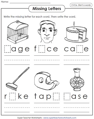 Number Names Worksheets free printable phonics worksheets for 1st grade : Silent E Worksheets