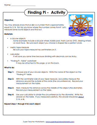 Pi Activity Worksheets