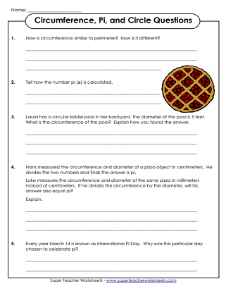 Pi Questions Worksheet (Circle, Circumference)