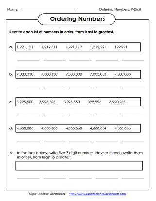 Place Value Worksheets 7 Digits Or More