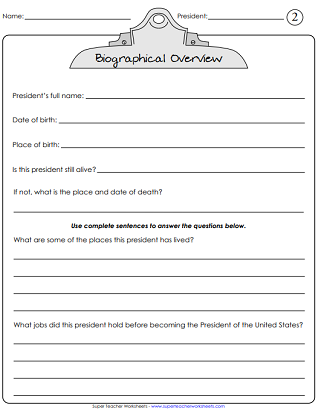 President's Day Worksheet (Biography)