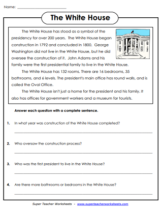 President's Day - White House Worksheet