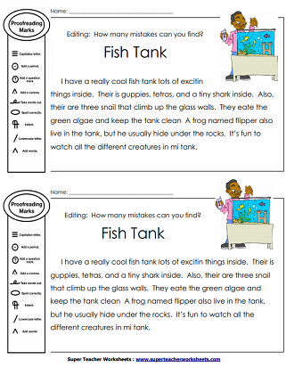 Printable Editing Worksheets- Grammar, Spelling, Punctuation ...