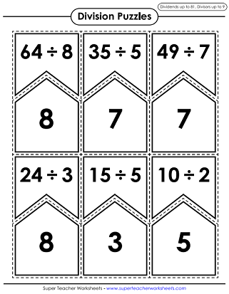 Division Math Puzzle Games (Printable)
