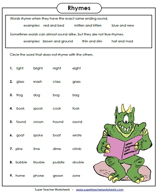 Worksheets Word  worksheets words Rhyming sight exercises