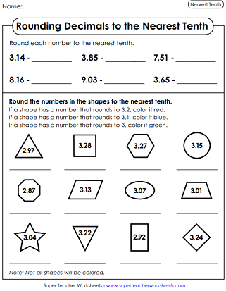 Printable Rounding Worksheets (Decimals)