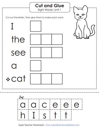 Sight Words - Cut and Glue Worksheet (Unit 1)