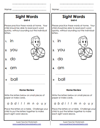 Take-Home Word List - Sight Words