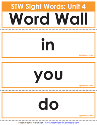 Printable Word Wall/Pocket Chart - Sight Words