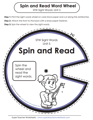 Spin and Read Word Wheel - Sight Words