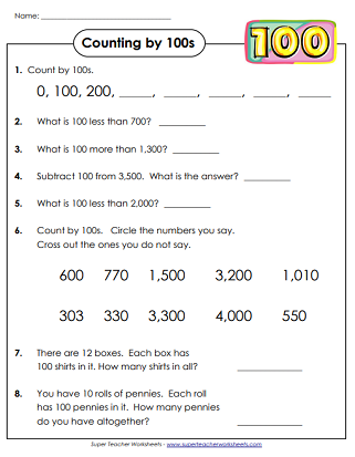 Count By 100s (Skip Counting Worksheets)