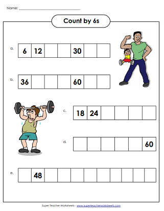 Skip Counting By 6s Worksheets