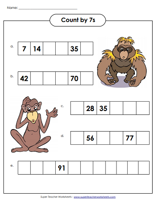 Skip Counting By 7s Printable Worksheets