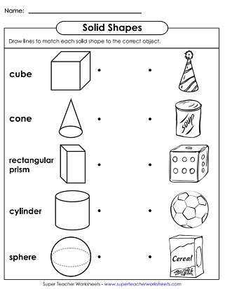 Solid Shapes Worksheets (Very Basic)