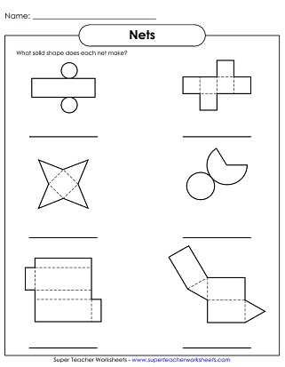 Solid shapes worksheets solid shapes worksheet nets ccuart Image collections