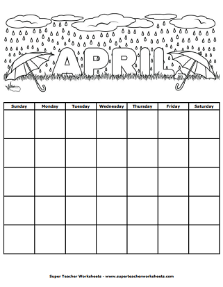 Spring Worksheets - Calendar