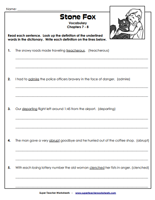 Super Teacher Worksheets | Stone Fox - Worksheets & Activities