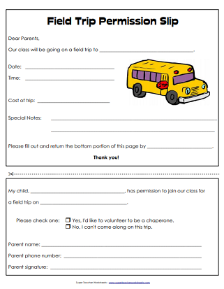 Permission Slip (Printable)