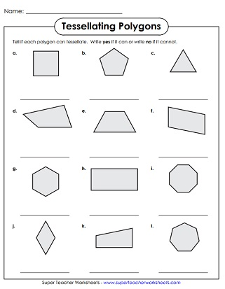 Dramatic image with tessellation worksheets printable