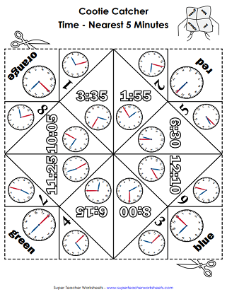 Time Cootie Catcher (Nearest 5 Minutes)